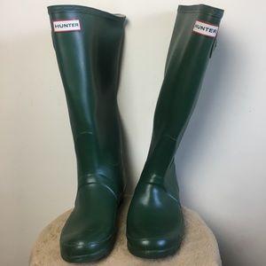 Green tall hunter rain boots